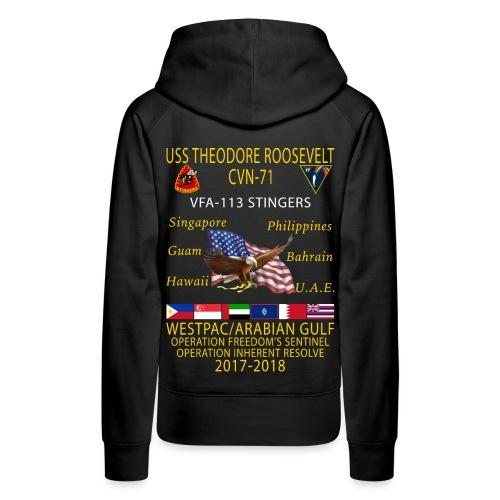 VFA-113 w/ USS THEODORE ROOSEVELT 2017-18 WOMENS CRUISE HOODIE - Women's Premium Hoodie