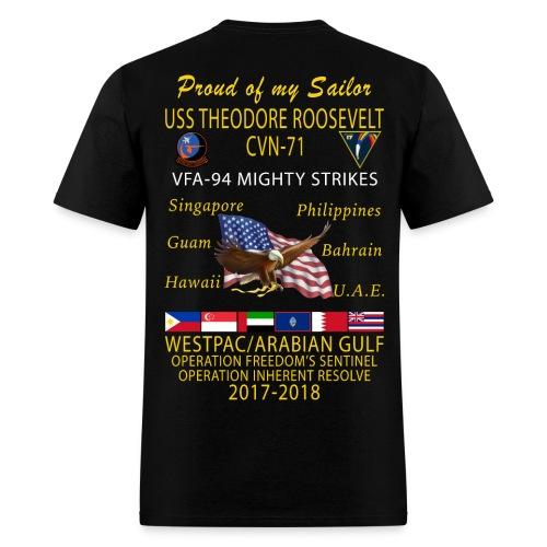 VFA-94 w/ USS THEODORE ROOSEVELT 2017-18 CRUISE SHIRT - FAMILY - Men's T-Shirt
