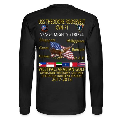 VFA-94 w/ USS THEODORE ROOSEVELT 2017-18 LONG SLEEVE CRUISE SHIRT - Men's Long Sleeve T-Shirt
