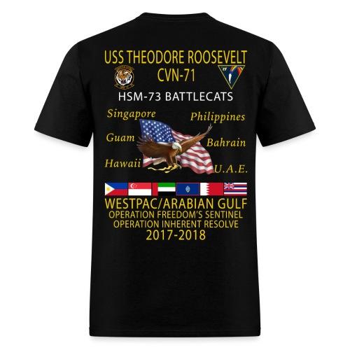 HSM-73 w/ USS THEODORE ROOSEVELT 2017-18 CRUISE SHIRT - Men's T-Shirt
