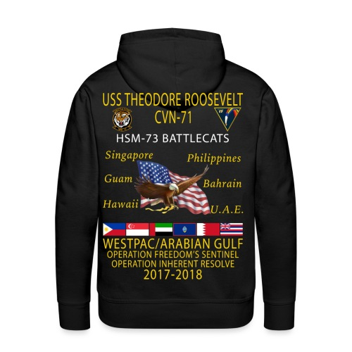 HSM-73 w/ USS THEODORE ROOSEVELT 2017-18 CRUISE HOODIE - Men's Premium Hoodie