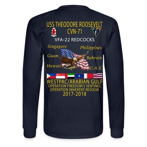 VFA-22 w/ USS THEODORE ROOSEVELT 2017-18 LONG SLEEVE CRUISE SHIRT - Men's Long Sleeve T-Shirt