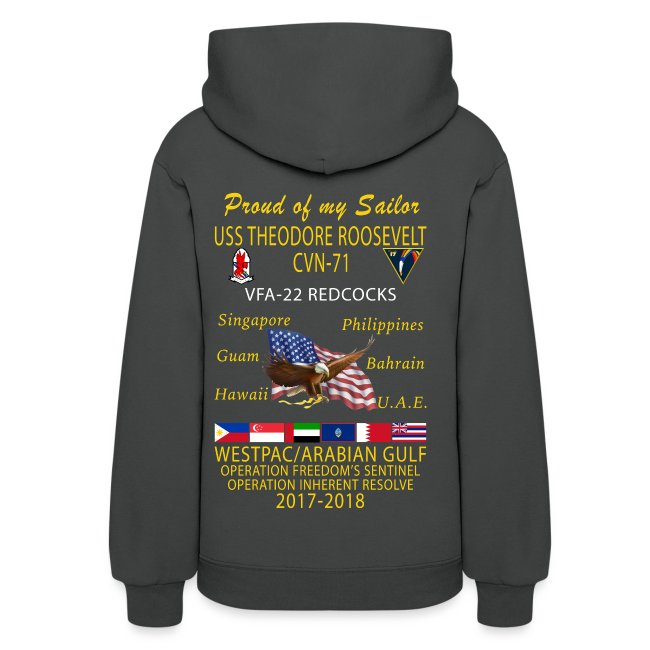 VFA-22 w/ USS THEODORE ROOSEVELT 2017-18 WOMENS CRUISE HOODIE - FAMILY