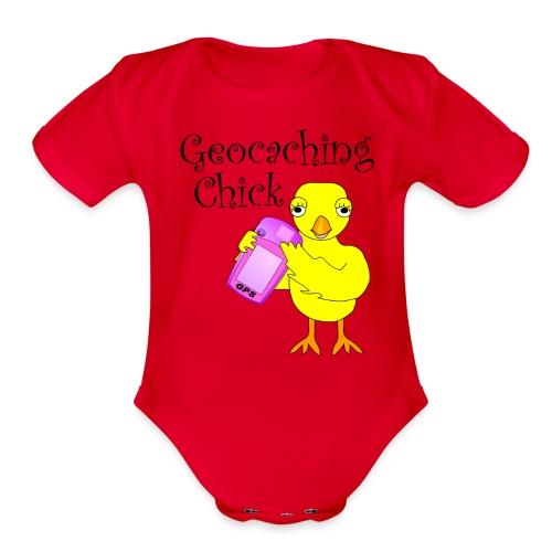 Geocaching Chick Text  - Organic Short Sleeve Baby Bodysuit
