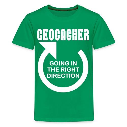 Geocacher Right Direction White Text - Kids' Premium T-Shirt