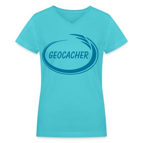 Geocacher Splash - Women's V-Neck T-Shirt
