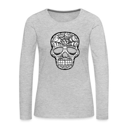 Calavera Tattoo Design BW - Women's Premium Long Sleeve T-Shirt