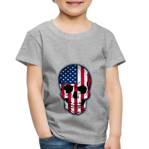 Vintage USA Flag Skull Toddlers T-shirt - Toddler Premium T-Shirt