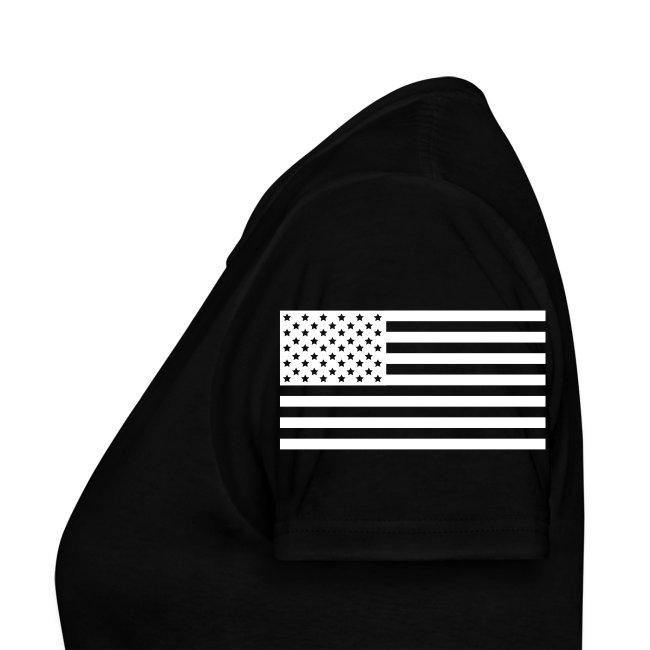 USS ABRAHAM LINCOLN CVN-72 WOMENS STRIPE TEE w/ USA FLAG SLEEVE PRINT