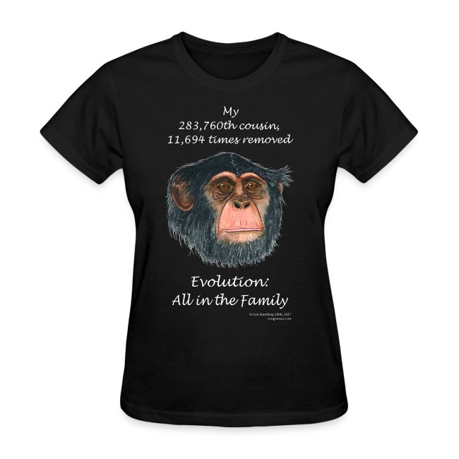 Women's chimpanzee black tee shirt