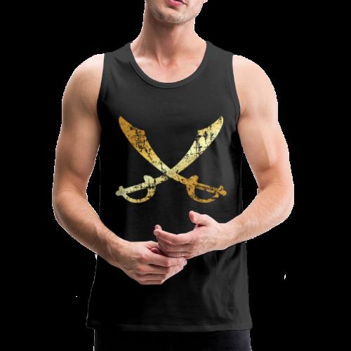 Pirate Tank Top with crossed Sabers (Ancient Gold) - Men's Premium Tank