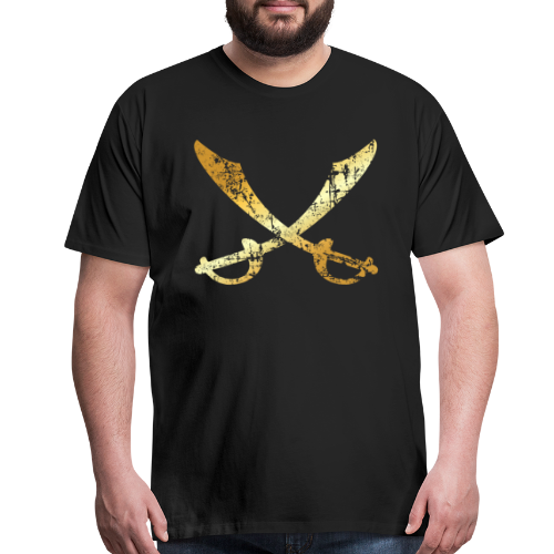 Pirate T-Shirt with crossed Sabers (Ancient Gold) - Men's Premium T-Shirt