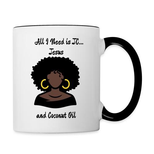 All I Need is JC...Jesus and Coconut Oil Silver Hoops Pink Mug - Contrast Coffee Mug