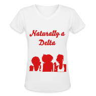 Women's T-Shirts ~ Women's V-Neck T-Shirt ~ Naturally a Delta