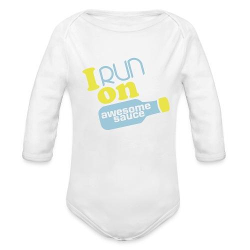 I Run on Awesome Sauce long-sleeve Onsie - Organic Long Sleeve Baby Bodysuit
