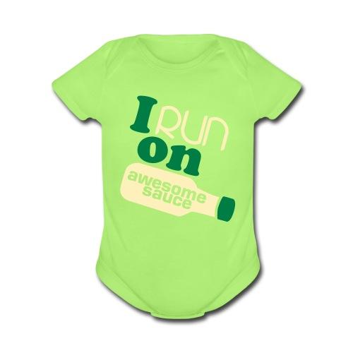 I Run on Awesome Sauce short-sleeve Onsie - Organic Short Sleeve Baby Bodysuit