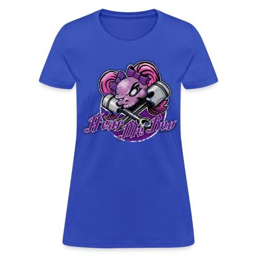 Girly Skull on blue - Women's T-Shirt