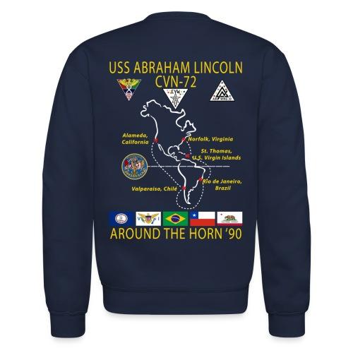 USS ABRAHAM LINCOLN CVN-72 AROUND THE HORN 1990 CRUISE SWEATSHIRT - Crewneck Sweatshirt