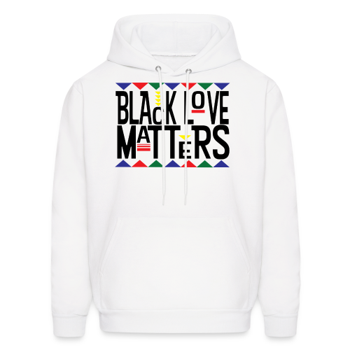 Men's BHM Black Love Matters White FLS Pullover - Men's Hoodie