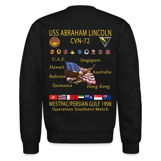 USS ABRAHAM LINCOLN CVN-72 WESTPAC 1998 CRUISE SWEATSHIRT