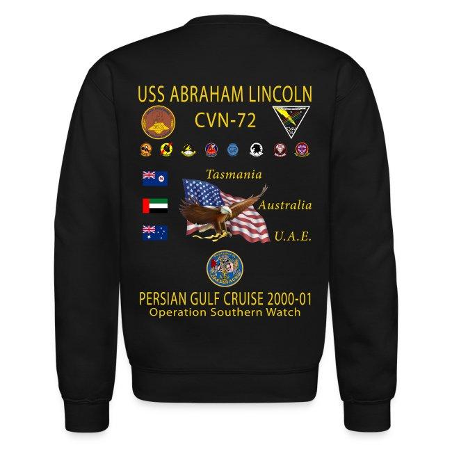 USS ABRAHAM LINCOLN CVN-72 PERSIAN GULF 2000-01 CRUISE SWEATSHIRT
