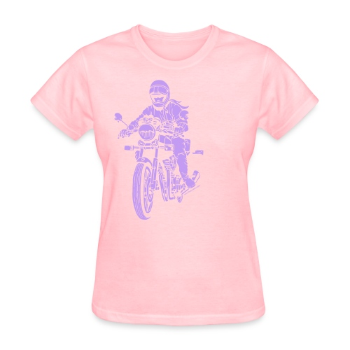 Motorcycle Rider on Brown - Women's T-Shirt