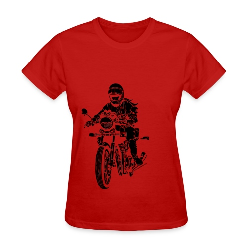 Motorcycle Rider on Red - Women's T-Shirt