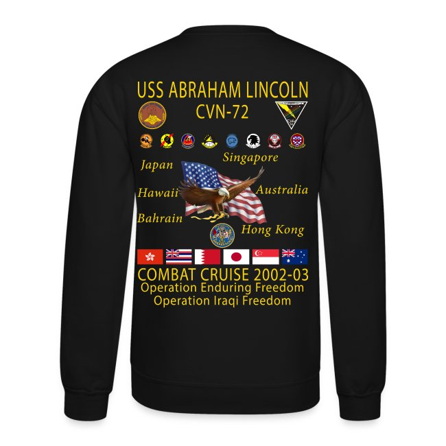 USS ABRAHAM LINCOLN CVN-72 WESTPAC 2002-03 CRUISE SWEATSHIRT