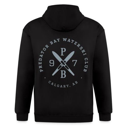Mens Zip Hoodie - Black/Silver - Crest on Back - Men's Zip Hoodie