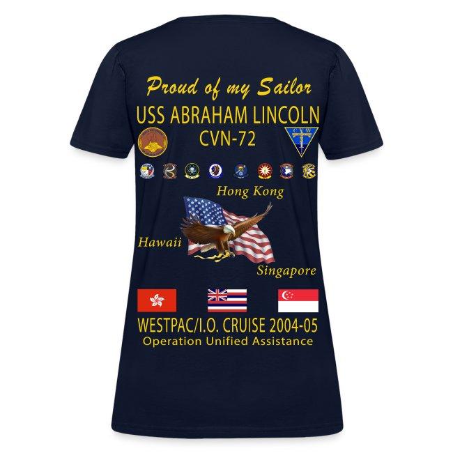 USS ABRAHAM LINCOLN CVN-72 WESTPAC 2004-05 WOMENS CRUISE SHIRT - FAMILY EDITION