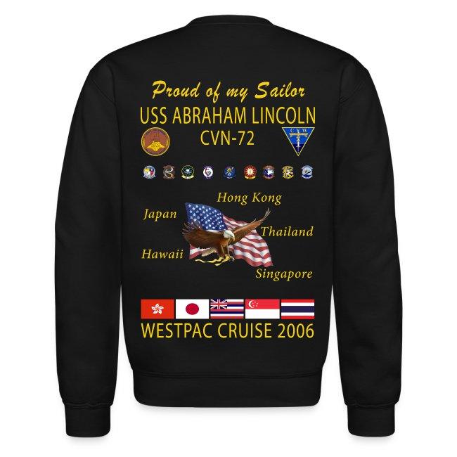 USS ABRAHAM LINCOLN CVN-72 WESTPAC 2006 SWEATSHIRT - FAMILY EDITION