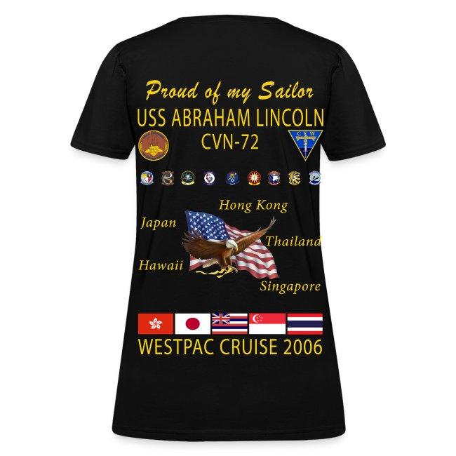 USS ABRAHAM LINCOLN CVN-72 WESTPAC 2006 WOMENS CRUISE SHIRT - FAMILY EDITION