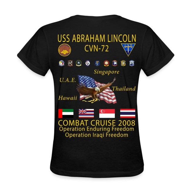USS ABRAHAM LINCOLN CVN-72 WESTPAC 2008 WOMENS CRUISE SHIRT