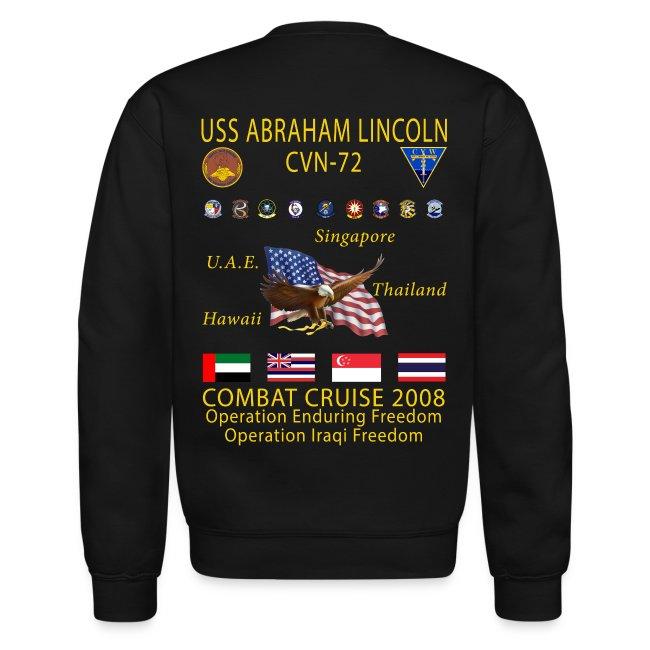 USS ABRAHAM LINCOLN CVN-72 WESTPAC 2008 CRUISE SWEATSHIRT