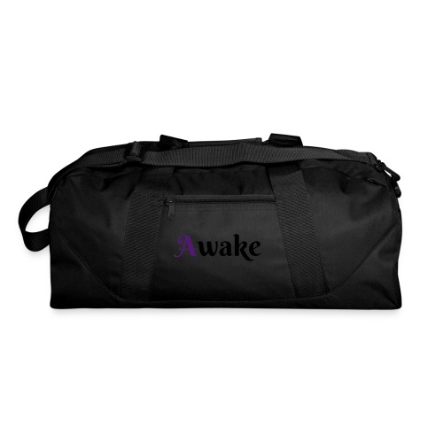 Awake purple 1st letter & blck words duffle bag - Duffel Bag