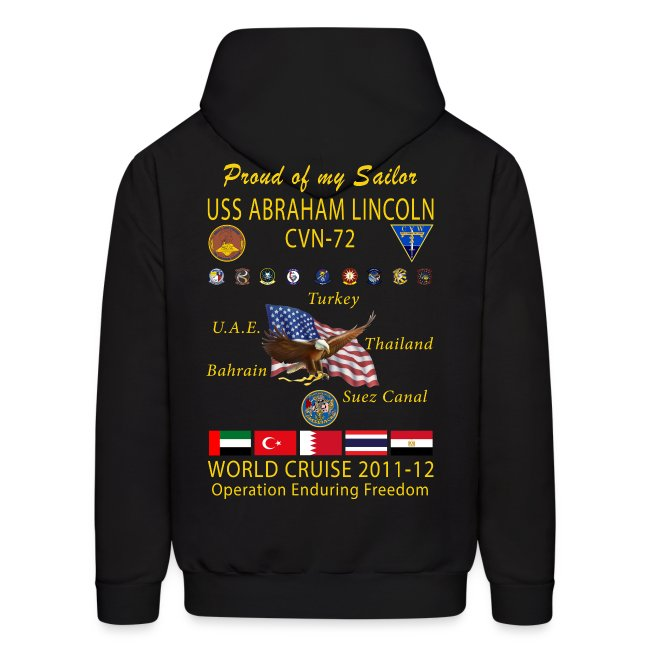 USS ABRAHAM LINCOLN CVN-72 WORLD CRUISE 2011-12 HOODIE - FAMILY EDITION