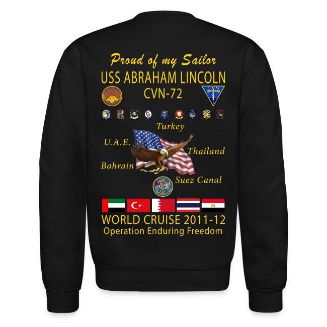 USS ABRAHAM LINCOLN CVN-72 WORLD CRUISE 2011-12 CRUISE SWEATSHIRT - FAMILY EDITION