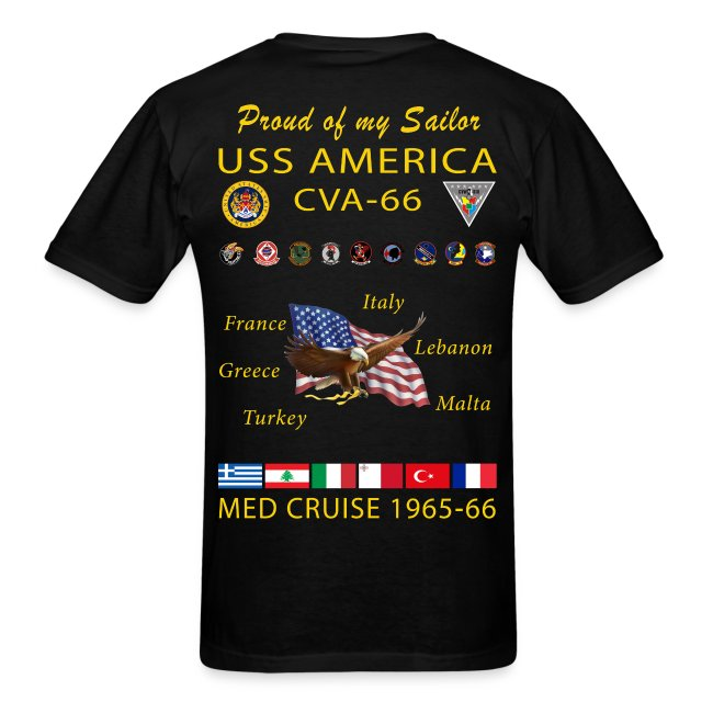 USS AMERICA CVA-66 1965-66 CRUISE SHIRT - FAMILY