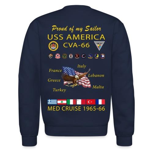USS AMERICA CVA-66 1965-66 CRUISE SWEATSHIRT - FAMILY - Crewneck Sweatshirt