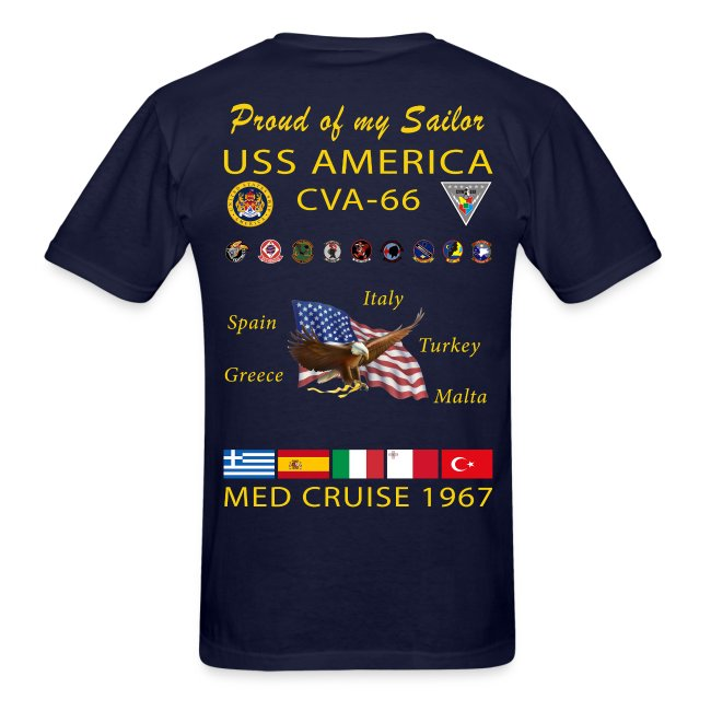 USS AMERICA CVA-66 1967 CRUISE SHIRT - FAMILY