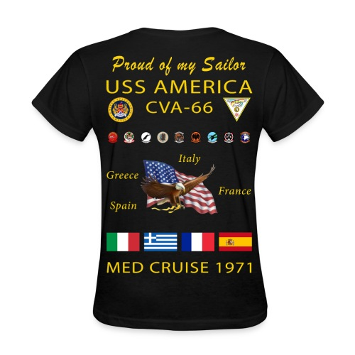 USS AMERICA CVA-66 1971 WOMENS CRUISE SHIRT - FAMILY - Women's T-Shirt