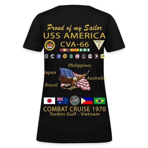 USS AMERICA CVA-66 1970 WOMENS CRUISE SHIRT - FAMILY - Women's T-Shirt