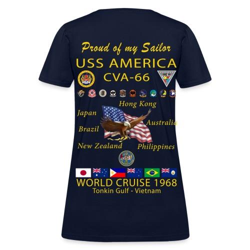 USS AMERICA CVA-66 1968 WOMENS CRUISE SHIRT - FAMILY - Women's T-Shirt