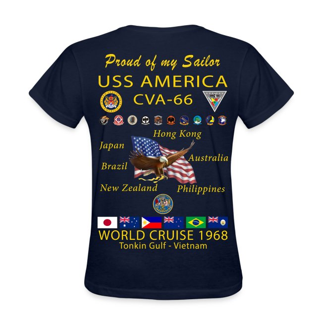 USS AMERICA CVA-66 1968 WOMENS CRUISE SHIRT - FAMILY