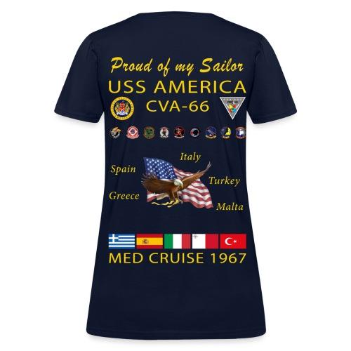 USS AMERICA CVA-66 1967 WOMENS CRUISE SHIRT - FAMILY - Women's T-Shirt