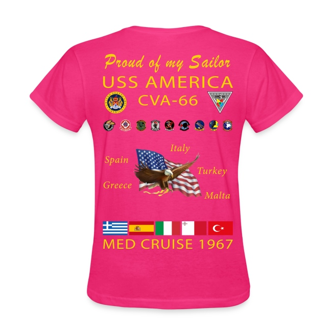 USS AMERICA CVA-66 1967 WOMENS CRUISE SHIRT - FAMILY