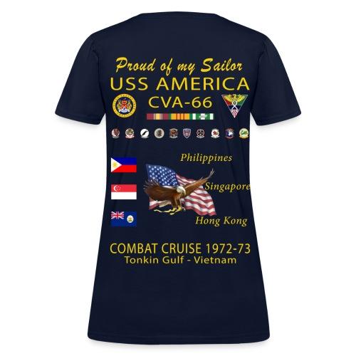 USS AMERICA CVA-66 1972-73 WOMENS CRUISE SHIRT - FAMILY - Women's T-Shirt