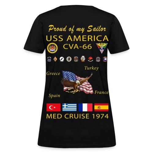 USS AMERICA CVA-66 1974 WOMENS CRUISE SHIRT - FAMILY - Women's T-Shirt