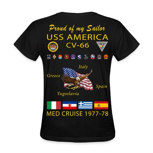 USS AMERICA CV-66 1977-78 WOMENS CRUISE SHIRT - FAMILY - Women's T-Shirt