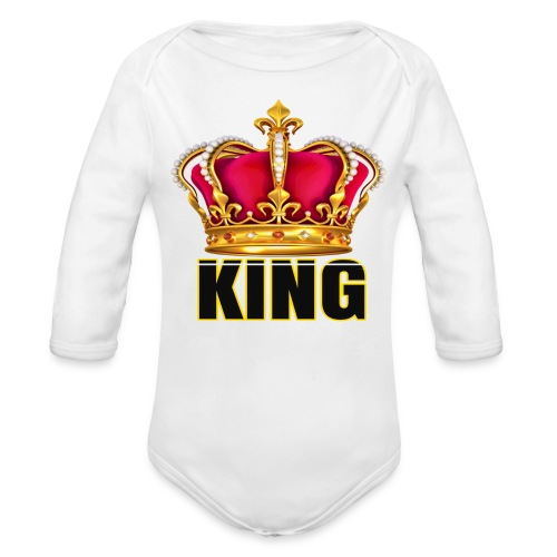 KINGS CROWN LONG SLEEVE ONESIE - Organic Long Sleeve Baby Bodysuit